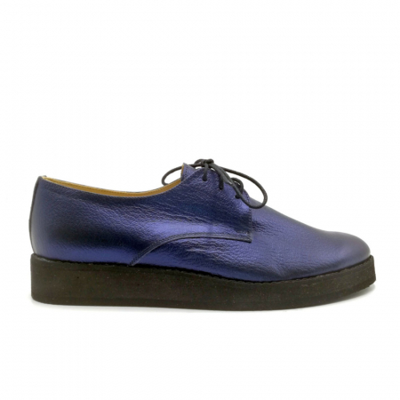 Pantofi dama Oxford din piele naturala Metal Blue0