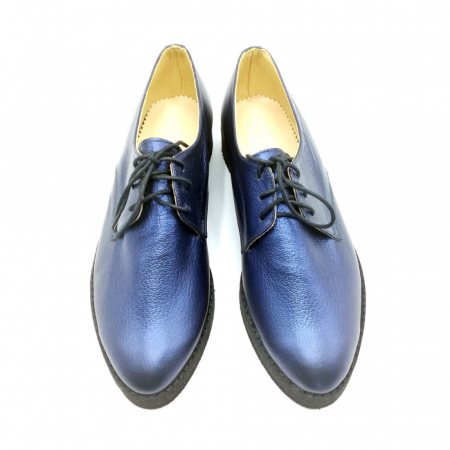 Pantofi dama Oxford din piele naturala Metal Blue2