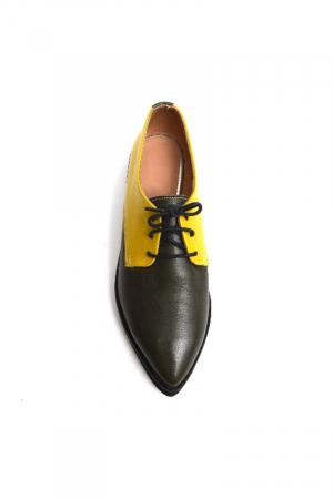 Pantofi dama Oxford din piele naturala Yellow Mirror1