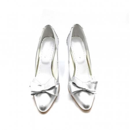 Pantofi dama stiletto Silver Bow2