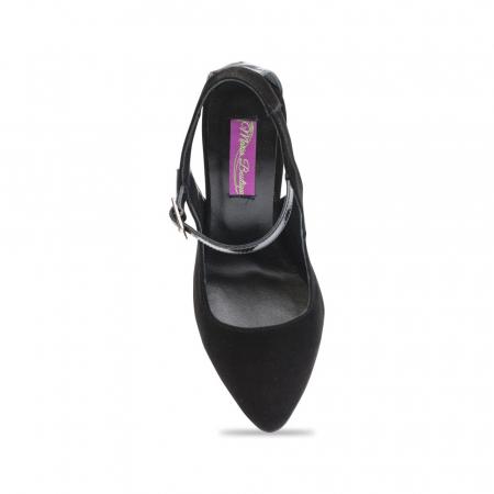 Pantofi dama stiletto din piele intoarsa negri CA074