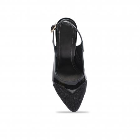 Pantofi dama stiletto din piele naturala negri CA114