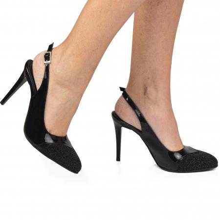 Pantofi dama stiletto din piele naturala negri CA110