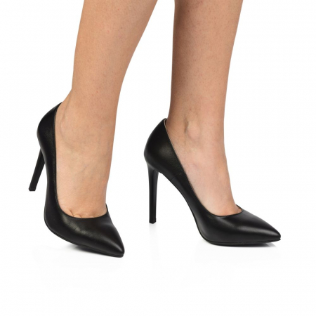 Pantofi dama stiletto din piele naturala negri CA031