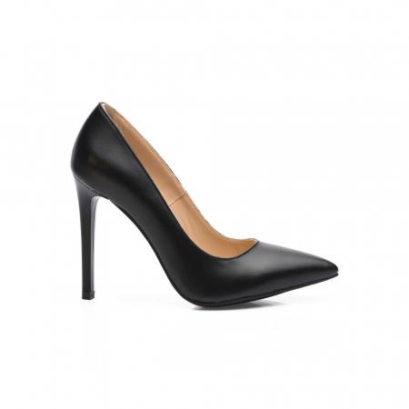 Pantofi dama stiletto din piele naturala negri CA030