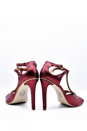 Pantofi dama stiletto din piele naturala Marsala