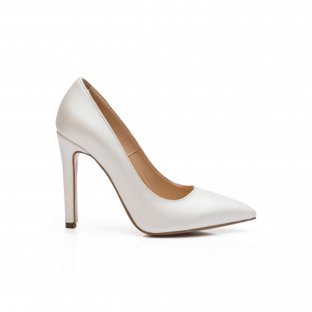 Pantofi dama stiletto din piele naturala alb sidef CA03 [0]