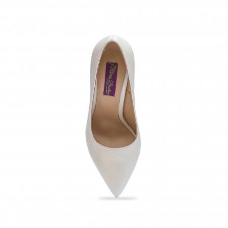 Pantofi dama stiletto din piele naturala alb sidef CA03, 35 [3]