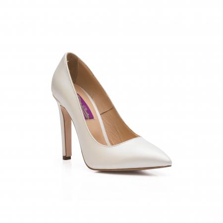 Pantofi dama stiletto din piele naturala alb sidef CA03, 35 [1]