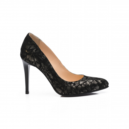 Pantofi dama stiletto din piele naturala intoarsa negri CA04
