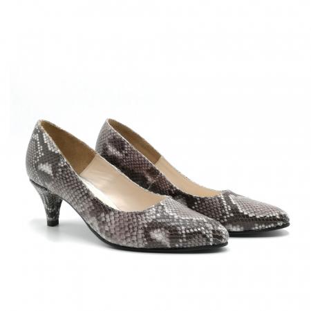 Pantofi dama cu toc mic Grey Snake1