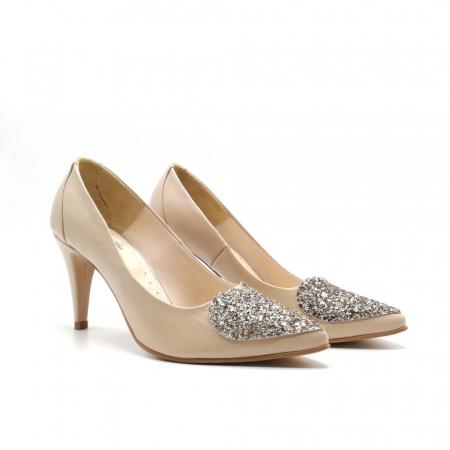 Pantofi dama stiletto Nude Glitter Bow1