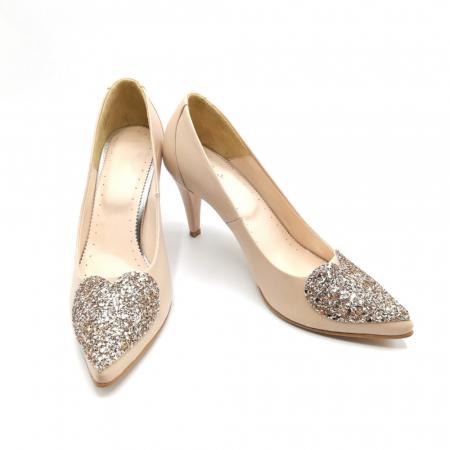 Pantofi dama stiletto Nude Glitter Bow3