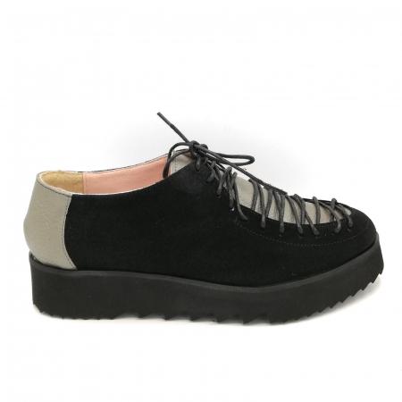 Pantofi dama tip Oxford Black Grey Laces0