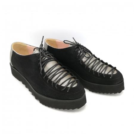 Pantofi dama tip Oxford Black Grey Laces1