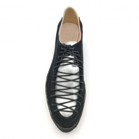 Pantofi dama tip Oxford Black Silver Laces4