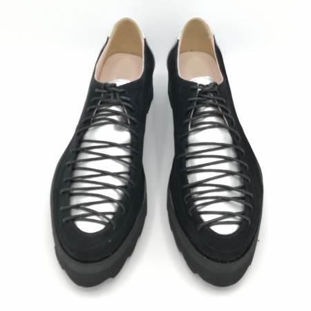 Pantofi dama tip Oxford Black Silver Laces3