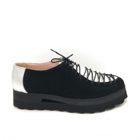 Pantofi dama tip Oxford Black Silver Laces0