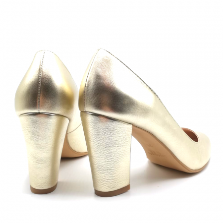 Pantofi din piele cu toc gros Gold Star2