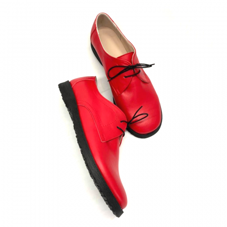 Pantofi din piele naturala Pax Rosu0