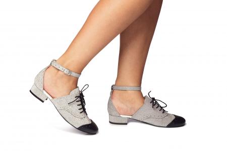 Pantofi cu talpa joasa tip Oxford glitter argintiu