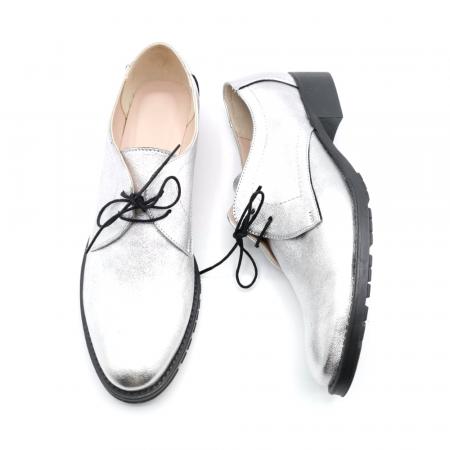 Pantofi din piele naturala argintii Tina, 392