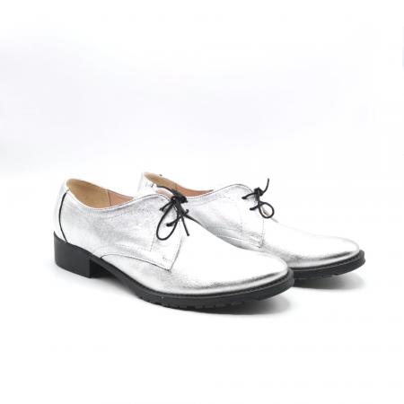 Pantofi din piele naturala argintii Tina, 391