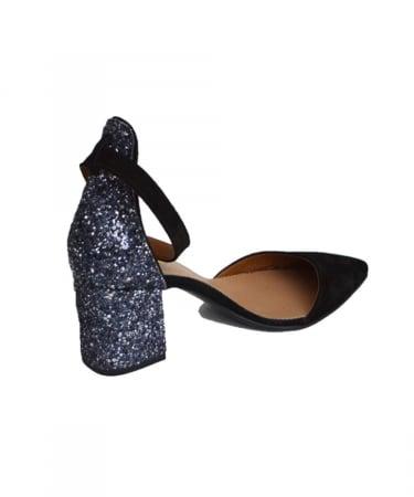 Pantofi din piele naturala cu toc gros Black Glitter