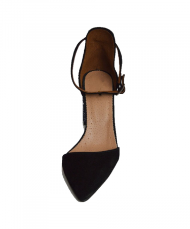 Pantofi din piele naturala cu toc gros Black Glitter2