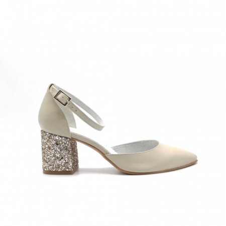 Pantofi din piele naturala cu toc gros Nude Glitter0
