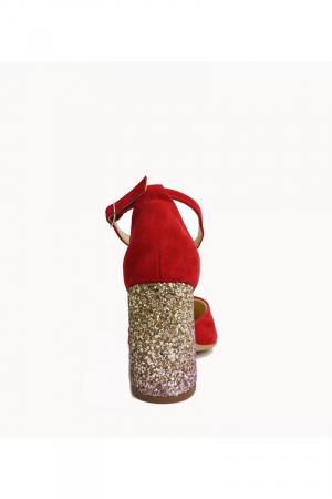 Pantofi din piele naturala cu toc gros Red Glitter2