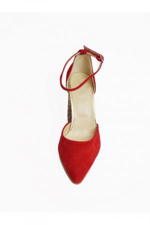 Pantofi din piele naturala cu toc gros Red Glitter1
