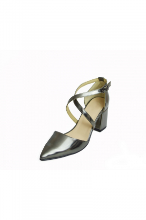 Pantofi din piele naturala cu toc gros Shiny Silver1