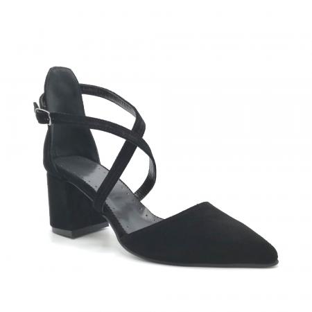 Pantofi din piele naturala cu toc gros Black Velvet2
