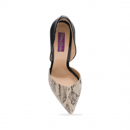 Pantofi din piele naturala snake print toc gros CA584