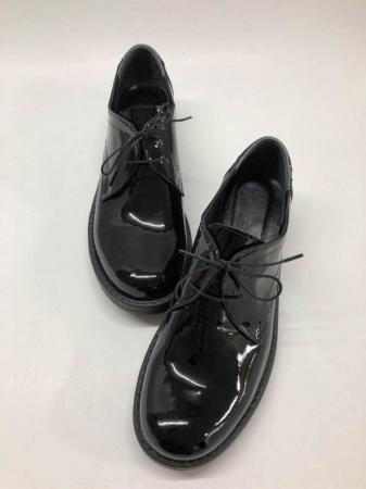 Pantofi din piele naturala lacuita neagra Clara, 401