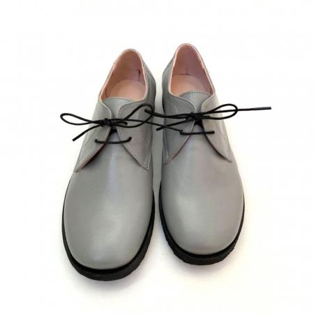 Pantofi din piele naturala Oxford Pax Gri2