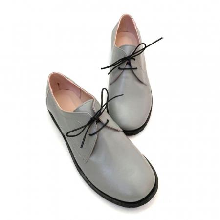 Pantofi din piele naturala Oxford Pax Gri3