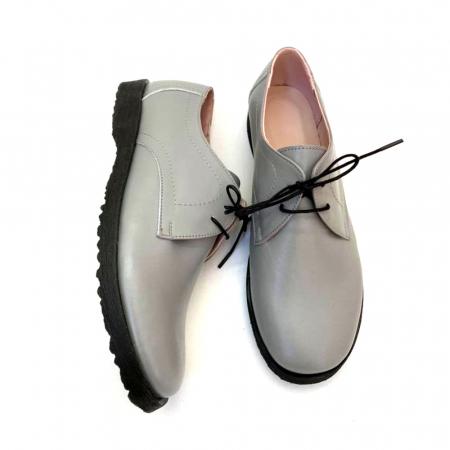 Pantofi din piele naturala Oxford Pax Gri1