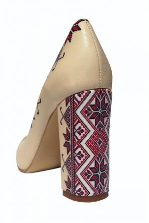 Pantofi din piele naturala Romanian Motifs Nude
