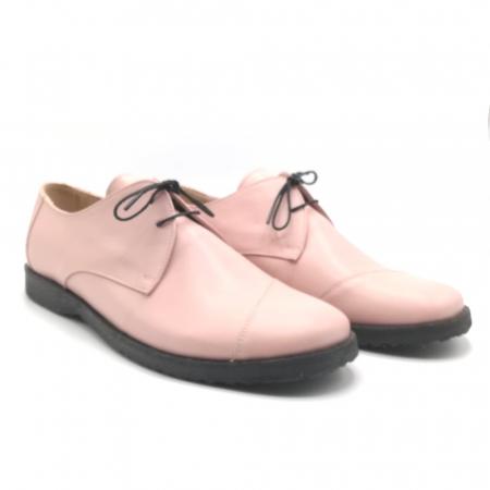 Pantofi din piele Oxford Kika Nude Rose1