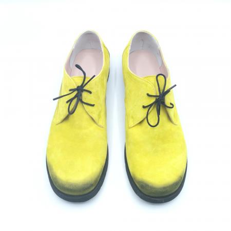 Pantofi din piele Oxford Pax Yellow Vintage, 402