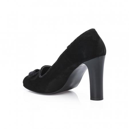 Pantofi eleganti negri accesorizati cu funda din piele