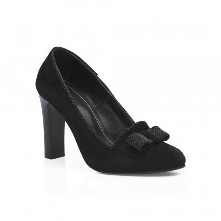 Pantofi eleganti negri accesorizati cu funda din piele CA24 [2]