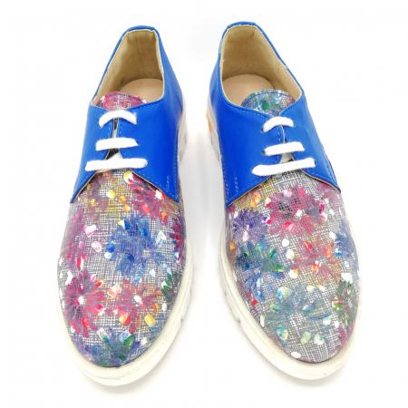 Pantofi dama din piele cu talpa joasa Flowers Blue3