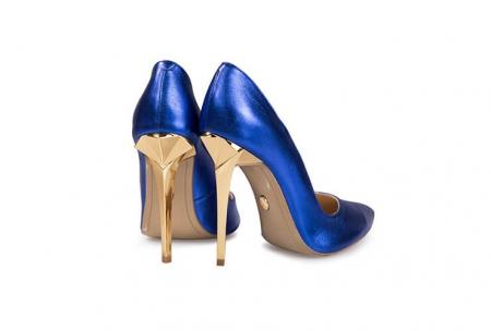 Pantofi Mihai Albu din piele metalizata Blue Stealth Crystal1