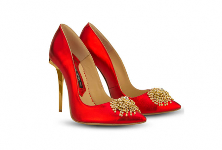 Pantofi Mihai Albu din piele metalizata Ruby Stealth Crystal1