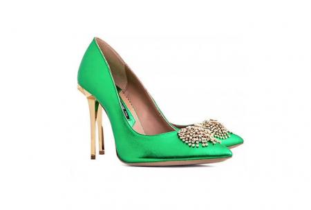 Pantofi Mihai Albu din piele metalizata Jade Stealth Crystal1