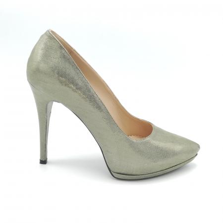 Pantofi Mihai Albu din piele metalizata Grey Strap0