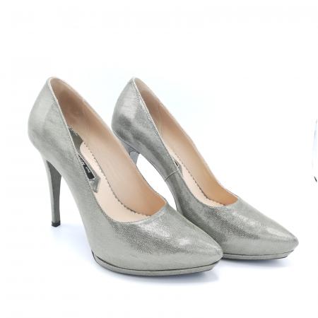 Pantofi Mihai Albu din piele metalizata Grey Strap2
